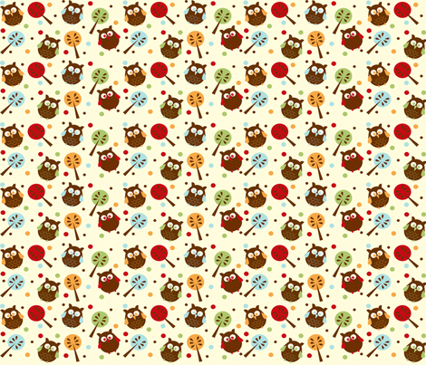 Owl Luhv Explosion from the Owl Luhv Collection fabric by jpdesigns on Spoonflower - custom fabric