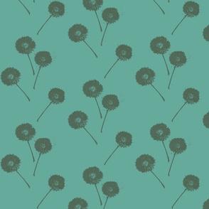 Dandelions on Teal