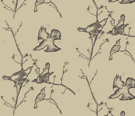 Black Birds on Taupe fabric by retrofiedshop on Spoonflower - custom fabric