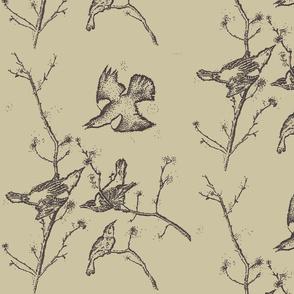 Black Birds on Taupe