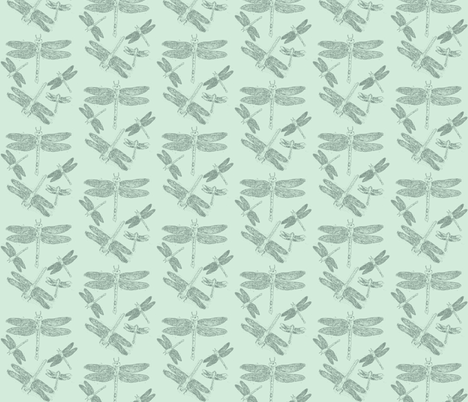 Dragonfly Line Drawings on Blue fabric by retrofiedshop on Spoonflower - custom fabric