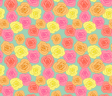 Polka-dot Rose fabric by lydia_meiying on Spoonflower - custom fabric
