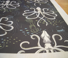 SMALL Ghostly Squid Damask