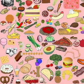 Scattered tossed food clip art pink