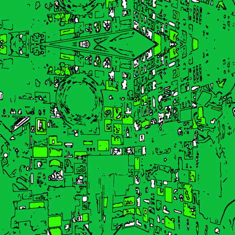 green outlines fabric by heikou on Spoonflower - custom fabric
