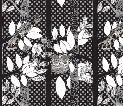 arbre_magique_in_black_ fabric by nadja_petremand on Spoonflower - custom fabric