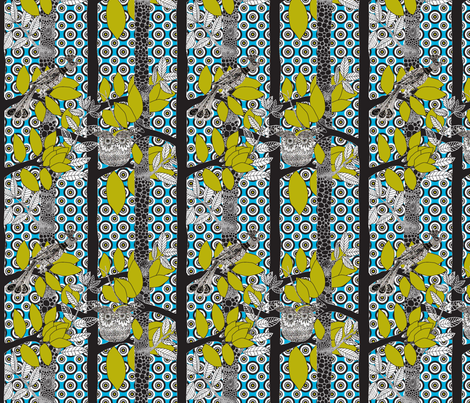 arbre_magique_color_blue_M fabric by nadja_petremand on Spoonflower - custom fabric