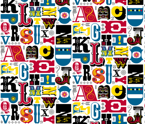 Woodtype Alphabet (Primary Colors) || letterpress wood type typography western circus alphabet fabric by pennycandy on Spoonflower - custom fabric