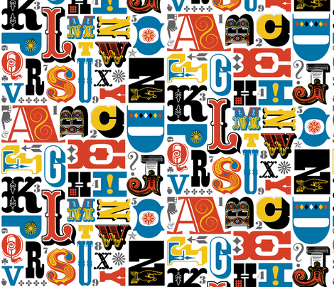 Woodtype Alphabet* (Primary Colors) || letterpress wood type typography western circus alphabet fabric by pennycandy on Spoonflower - custom fabric