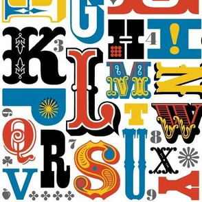 Woodtype Alphabet* (Primary Colors) || letterpress wood type typography western circus alphabet