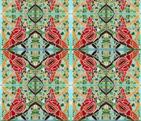 Cardinal in Tree fabric by jmariewlkr on Spoonflower - custom fabric