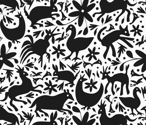 Mexico Springtime: Black on White (Large Scale) fabric by sammyk on Spoonflower - custom fabric