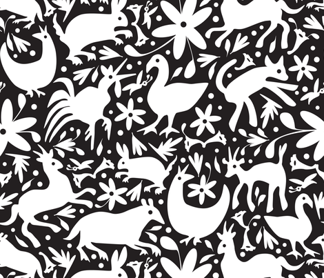 Mexico Springtime: White on Black (Large Scale) fabric by sammyk on Spoonflower - custom fabric