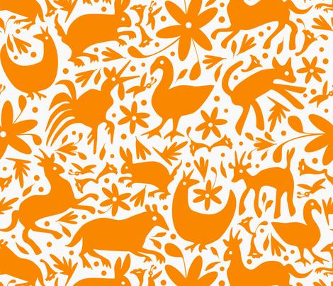 Mexico Springtime: Orange on White (Large Scale) fabric by sammyk on Spoonflower - custom fabric