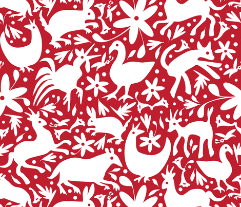 Mexico Springtime: White on Red (Large Scale) fabric by sammyk on Spoonflower - custom fabric