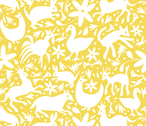 Mexico Springtime: White on Yellow (Large Scale) fabric by sammyk on Spoonflower - custom fabric