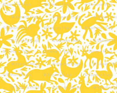Mexico Springtime: Yellow on White (Large Scale)