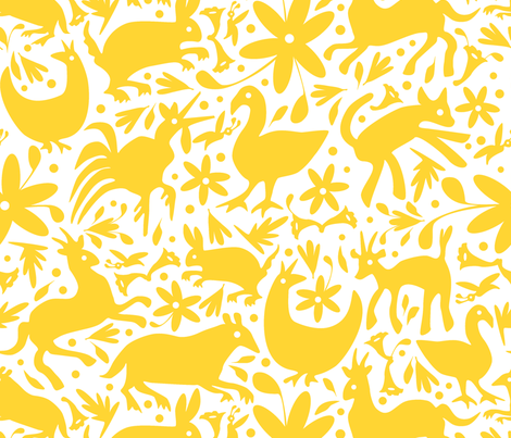 Mexico Springtime: Yellow on White (Large Scale) fabric by sammyk on Spoonflower - custom fabric