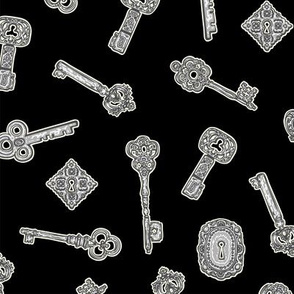 Antique Keys Black and Silver