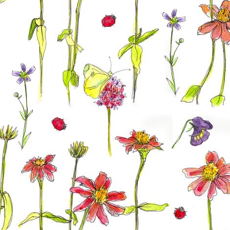 Red Zinnia Wildflowers fabric by countrygarden on Spoonflower - custom fabric