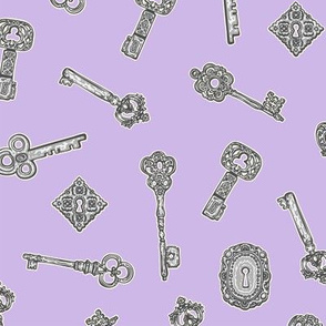 Antique Keys Lilac and Silver