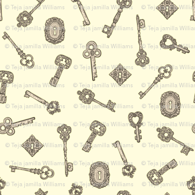Antique Keys White and Silver