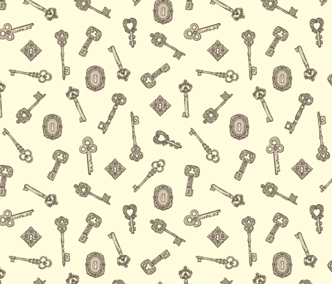 Antique Keys White and Silver fabric by teja_jamilla on Spoonflower - custom fabric