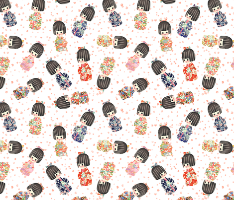 Kokeshi_Dolls fabric by teja_jamilla on Spoonflower - custom fabric