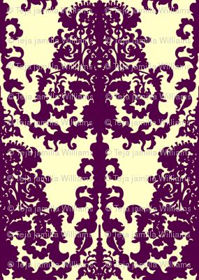 Ornate Gate damask purple on cream