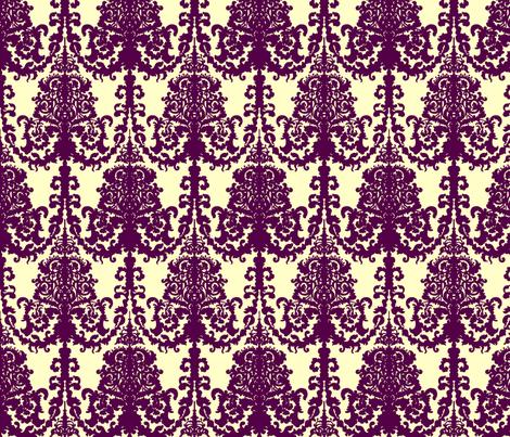 Ornate Gate damask purple on cream fabric by teja_jamilla on Spoonflower - custom fabric