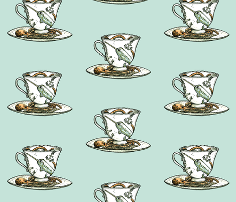 Narwal and Octopus Teacup fabric by taraput on Spoonflower - custom fabric