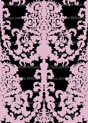 Ornate Gate damask black lavender
