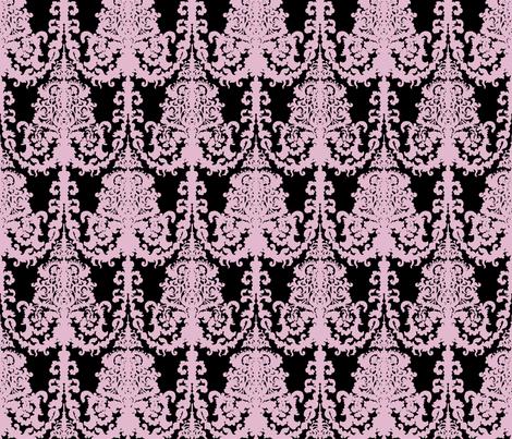 Ornate Gate damask black lavender fabric by teja_jamilla on Spoonflower - custom fabric