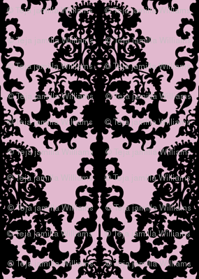 Ornate Gate Damask Black on Lilac