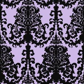 Ornate Gate Damask Black on Lilac
