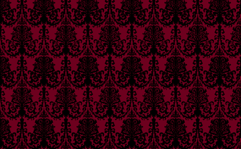 Ornate Gate Damask Black on Bordeaux fabric by teja_jamilla on Spoonflower - custom fabric