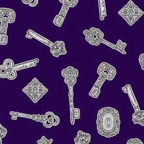 Antique Keys Purple and Silver