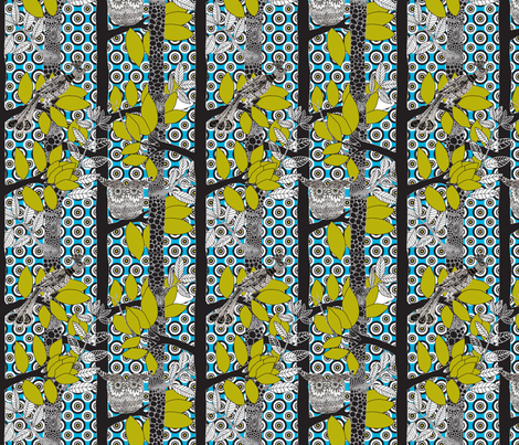 arbre_magique_color_blue_M_v2 fabric by nadja_petremand on Spoonflower - custom fabric