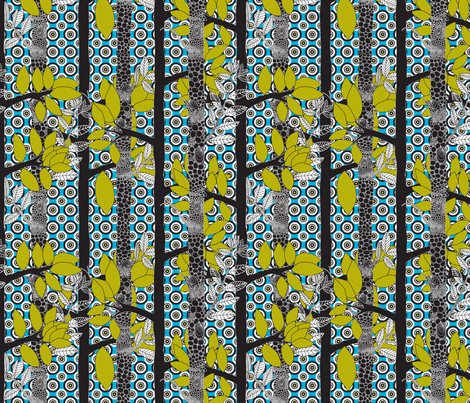 forêt_magic_pois_fond_bleu fabric by nadja_petremand on Spoonflower - custom fabric