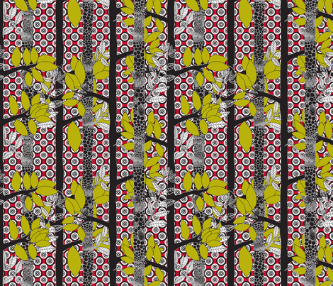 forêt_magic_pois_fond_rouge fabric by nadja_petremand on Spoonflower - custom fabric