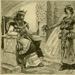 1901 Victorian Etching King Solomon with Queen of Sheba