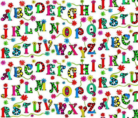 Sunny_Summer_Alphabet fabric by chelmers on Spoonflower - custom fabric