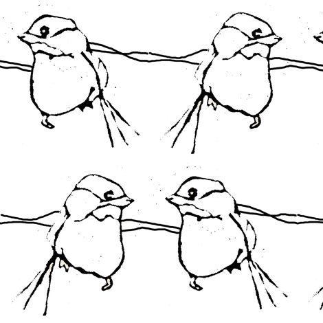 birdfight - black & white fabric by sparegus on Spoonflower - custom fabric