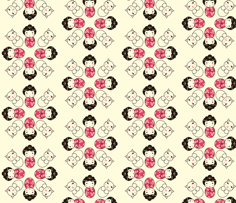 Kokeshi Circle fabric by marcelinesmith on Spoonflower - custom fabric