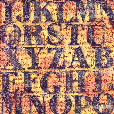 stamped alphabet