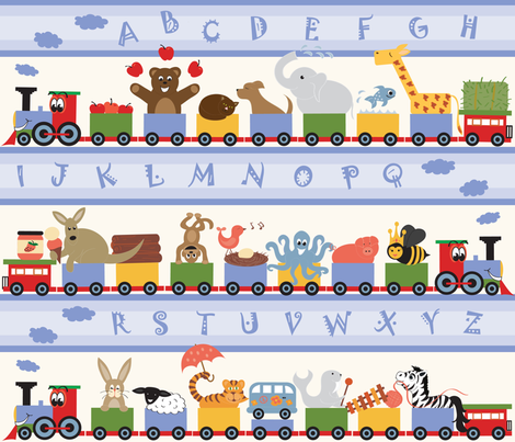 ABC ALPHABET TRAIN fabric by jenniferfranklin on Spoonflower - custom fabric