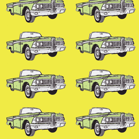 1959 Edsel Corsair convertible (green on yellow) fabric by edsel2084 on Spoonflower - custom fabric