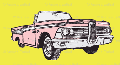 pink 1959 Edsel Corsiar convertible w top down on yellow background