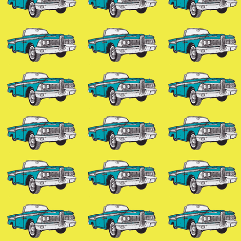 aqua 1959 Edsel Corsair convertibles in straight rows on yellow  fabric by edsel2084 on Spoonflower - custom fabric