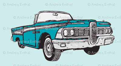 turquoise 1959 Edsel Corsair convertible with top down